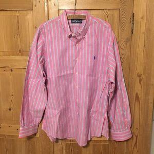 Ralph Lauren pink blue striped Oxford shirt dress